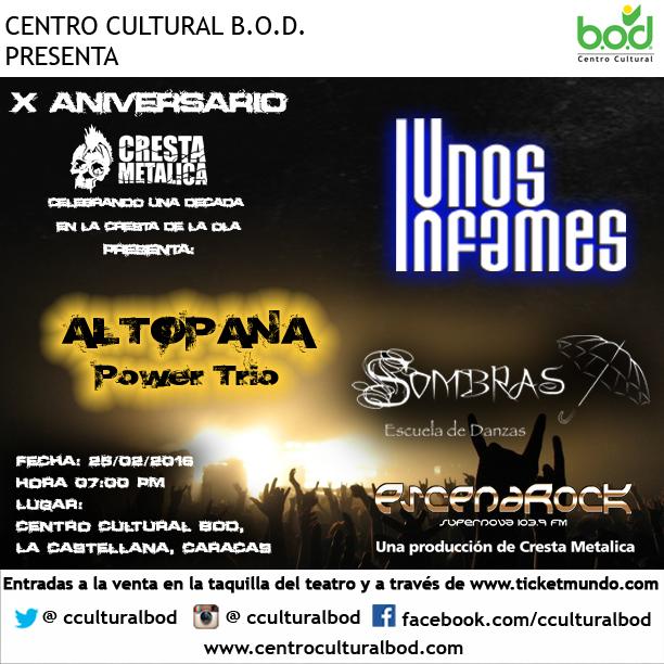 AltoPana Power Trio, Unos Infames y Sombras Tribal se preparan para ofrecer un gran show