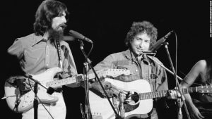 British musician George Harrison (1943 - 2001) (at left) and American musician Bob Dylan perform in the Concert for Bangla Desh at Madison Square Garden, New York, August 1, 1971. (Photo by Bill Ray/Time & Life Pictures/Getty Images)
