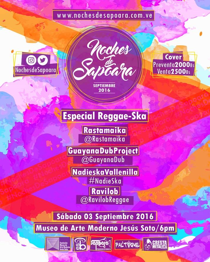 """Regresa Noches de Sapoara con """"Especial Reggae-Ska"""""""