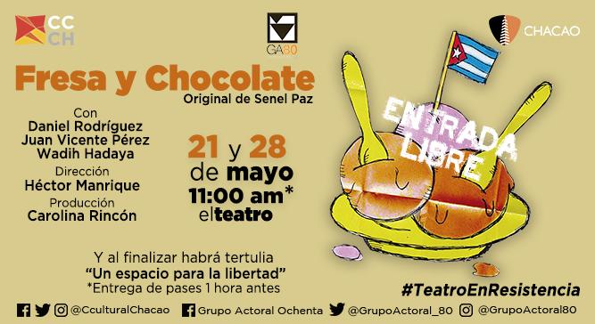 """""""Fresa y Chocolate"""" ofrece dos funciones gratuitas en el Centro Cultural Chacao"""