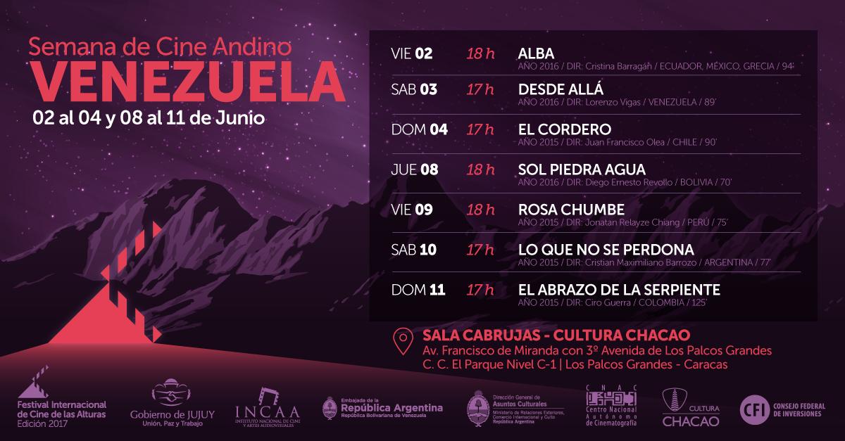 """El ciclo """"Semana de Cine Andino"""" llega a Venezuela este 2 de junio en la Sala Cabrujas"""
