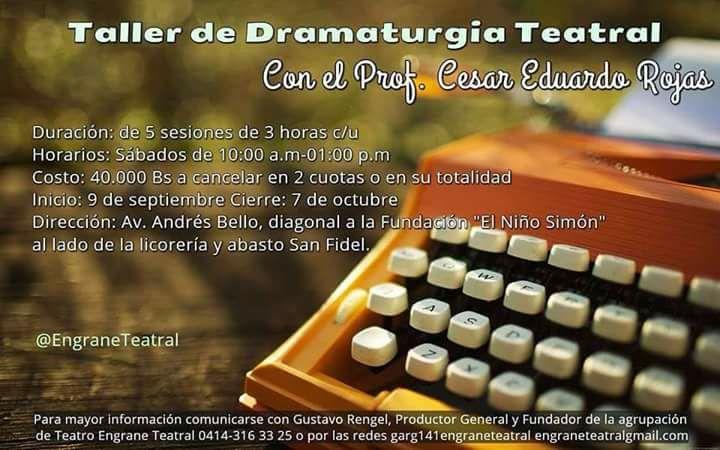 Taller de Dramaturgia Teatral con el Prof. Cesar Eduardo Rojas